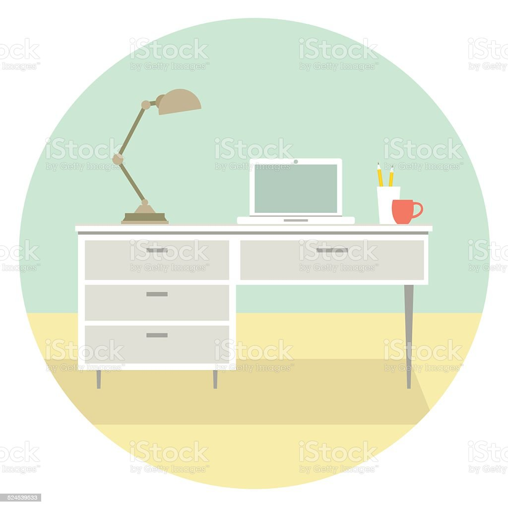 House Interior Office vector art illustration