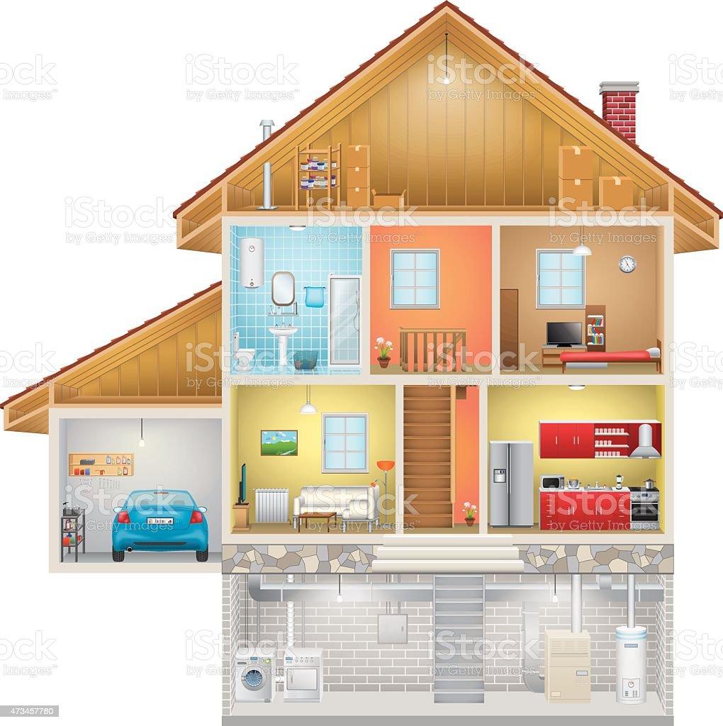 House Interior on White Background vector art illustration