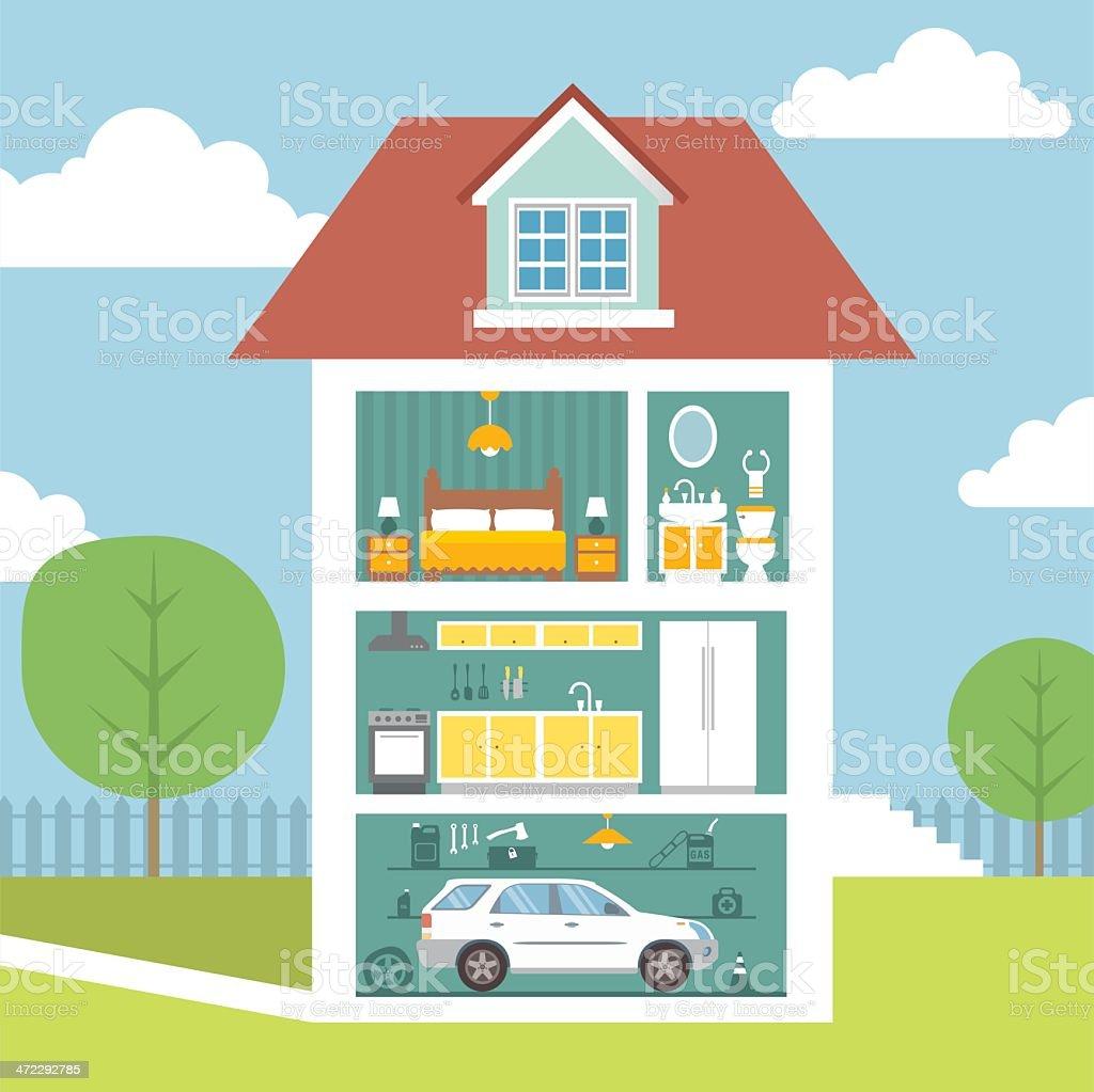 House interior royalty-free stock vector art