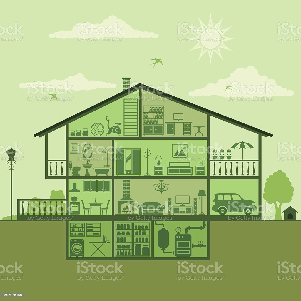 House Interior vector art illustration