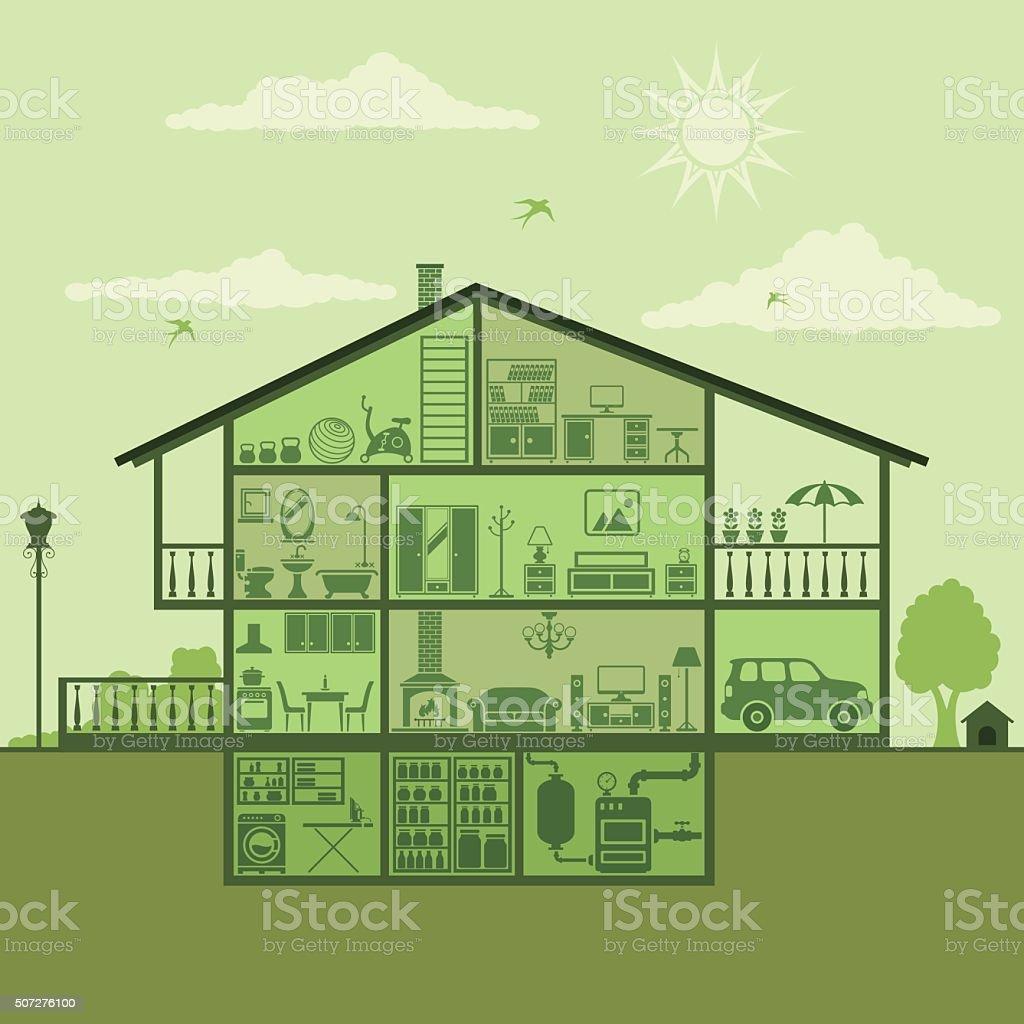 House Interior vector art illustration
