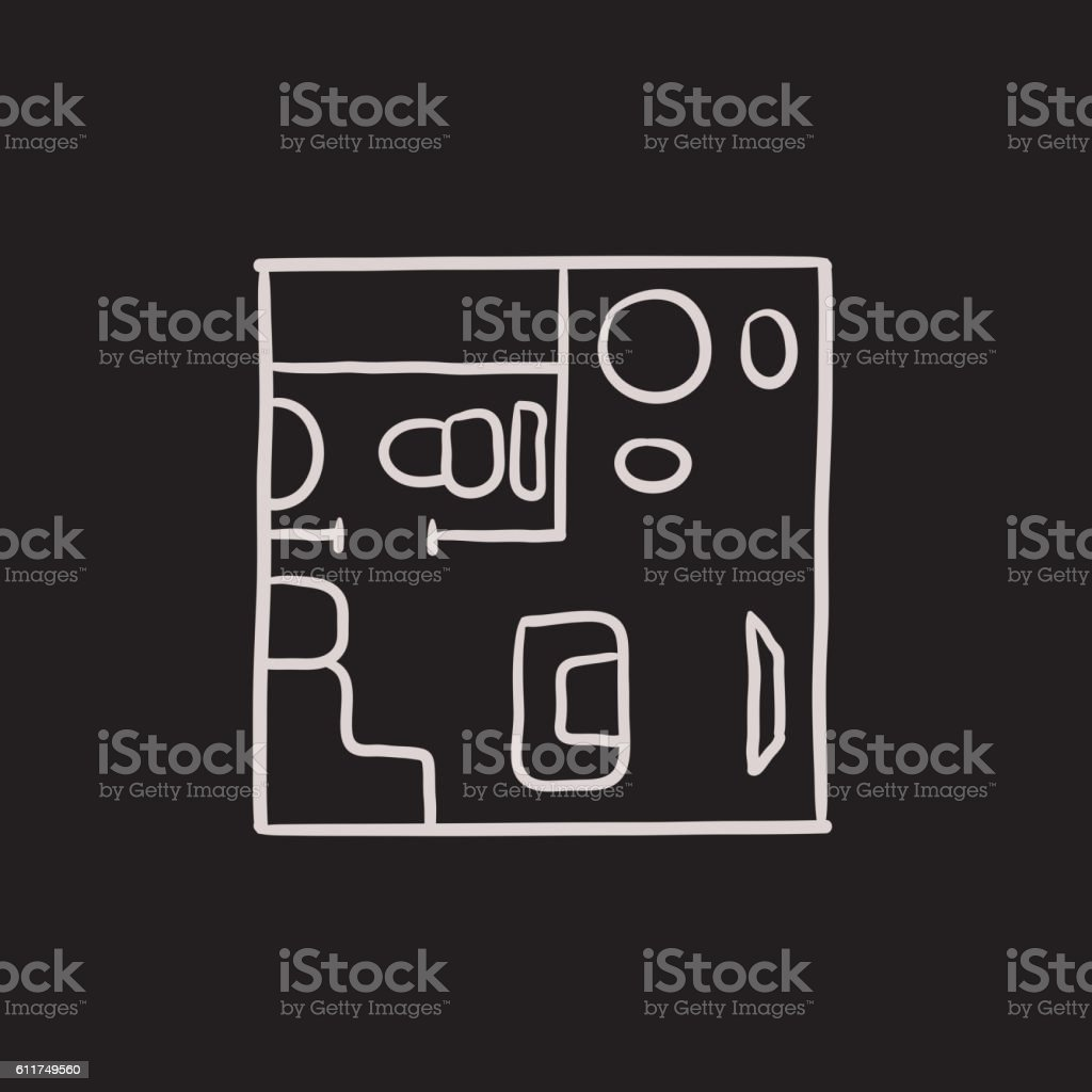 House interior with furniture sketch icon. vector art illustration