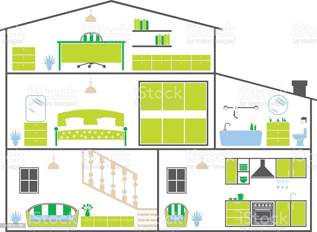 House Layout vector art illustration