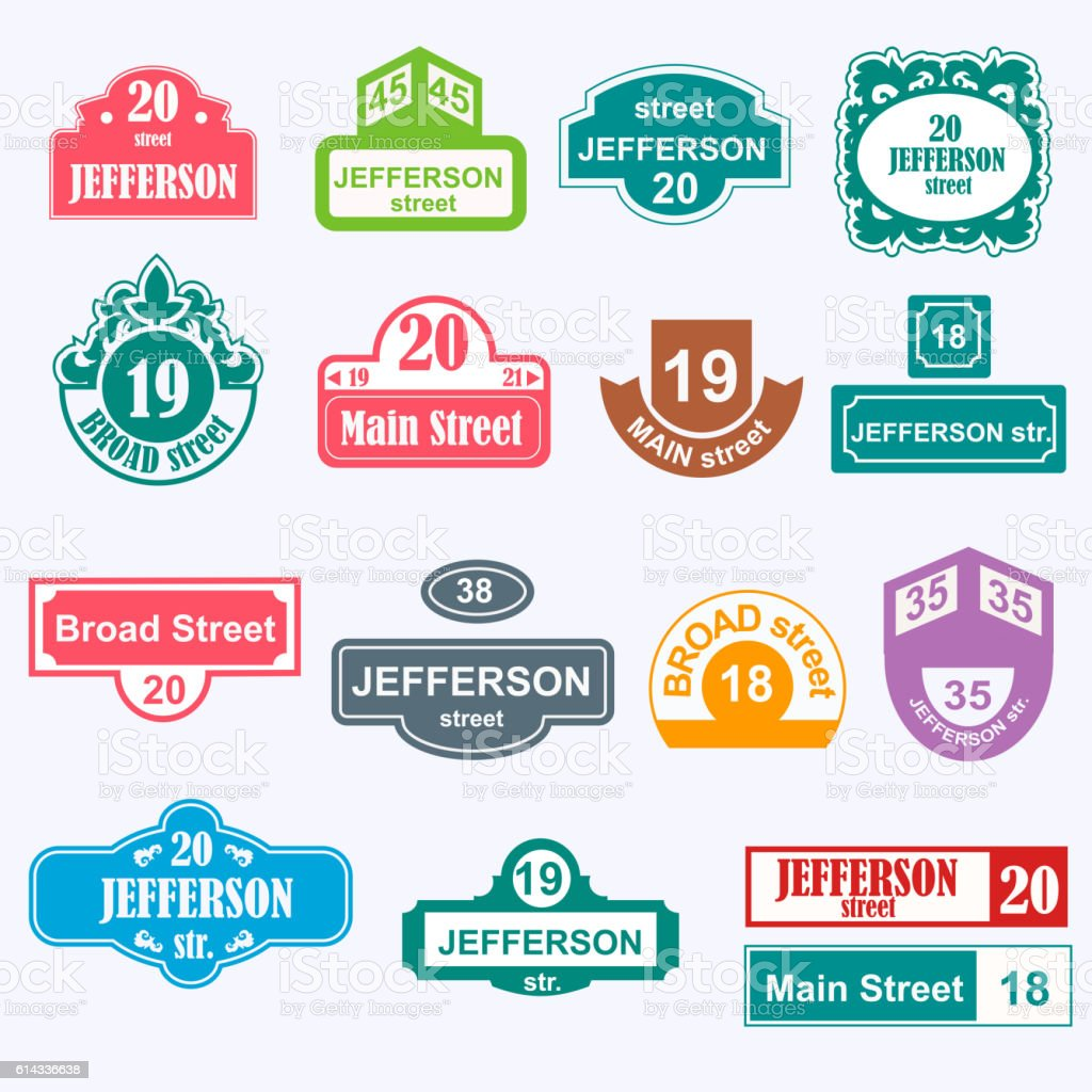 House numbers boards sign isolated vector art illustration