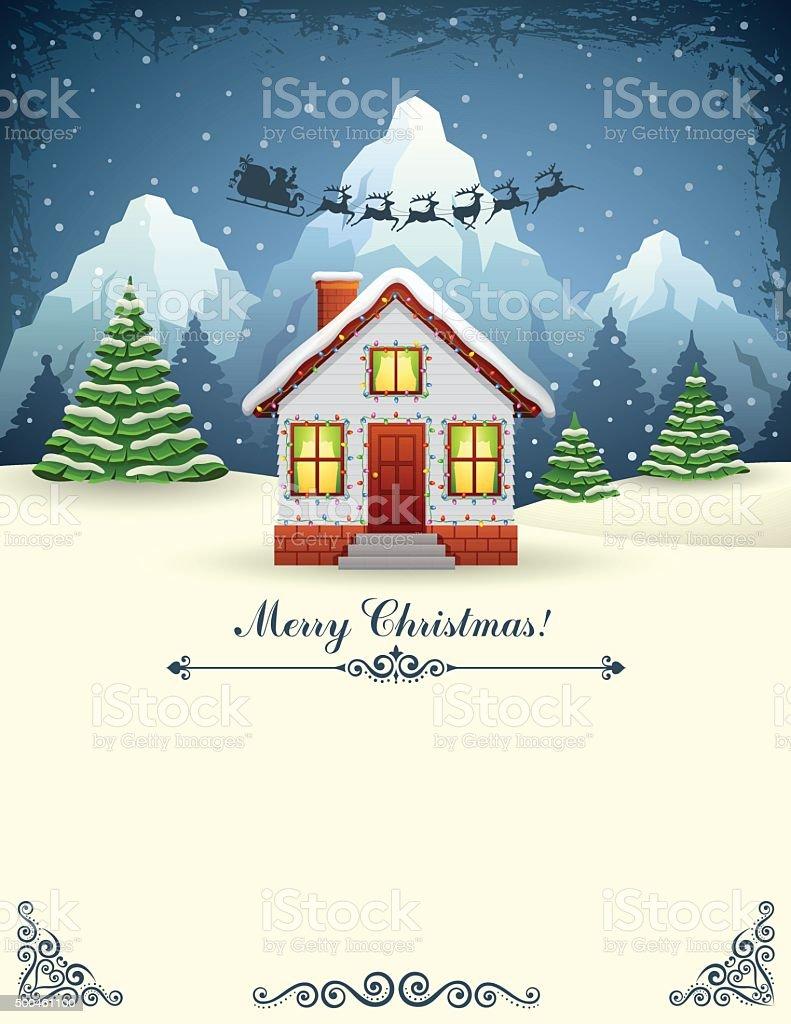 House of Santa Claus vector art illustration