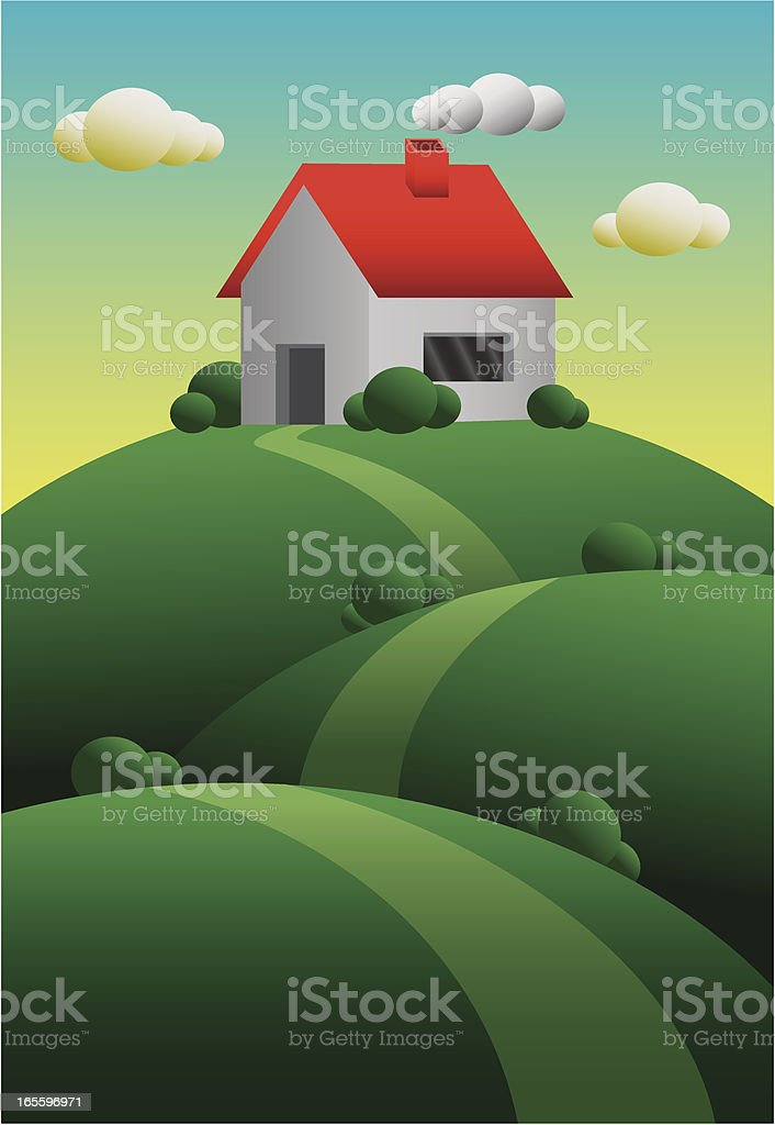 House on a hill royalty-free stock vector art