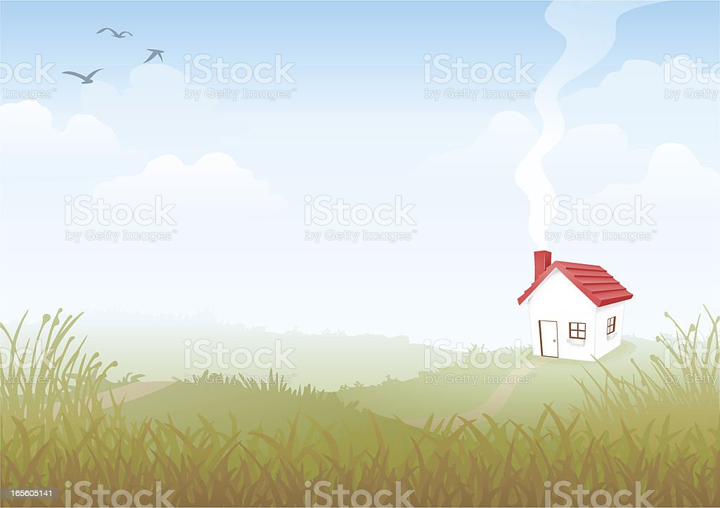 House on a Hill vector art illustration