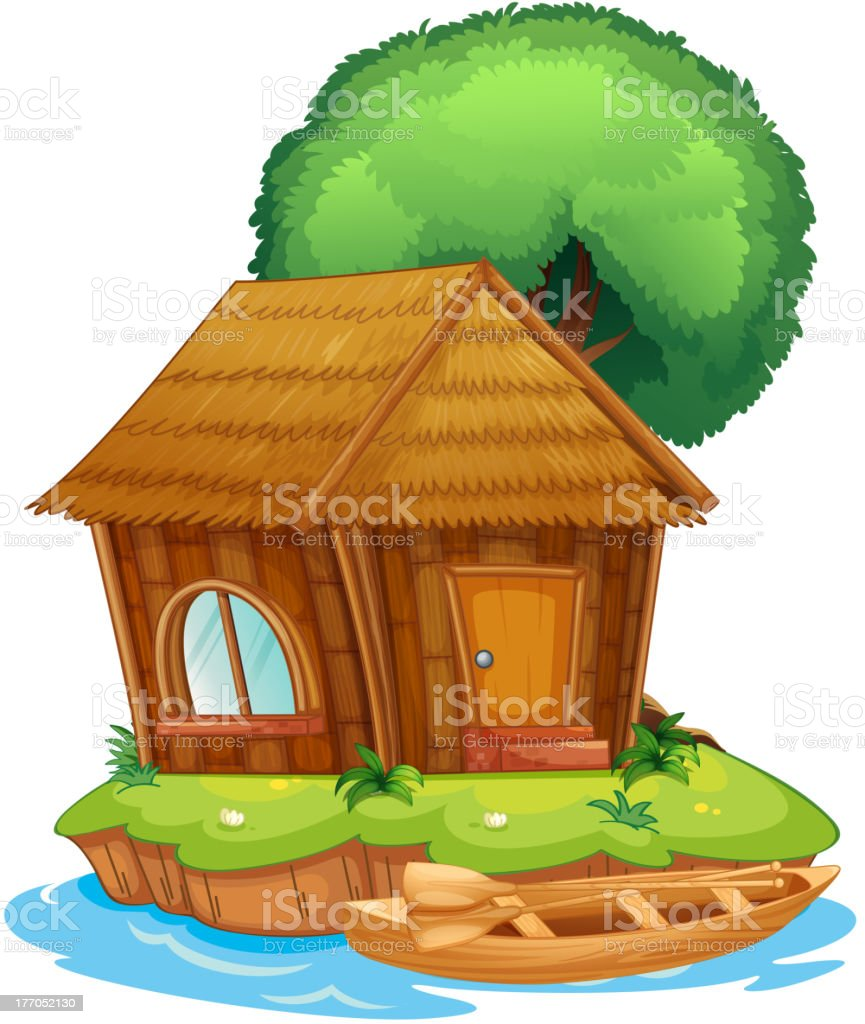 House on an island royalty-free stock vector art