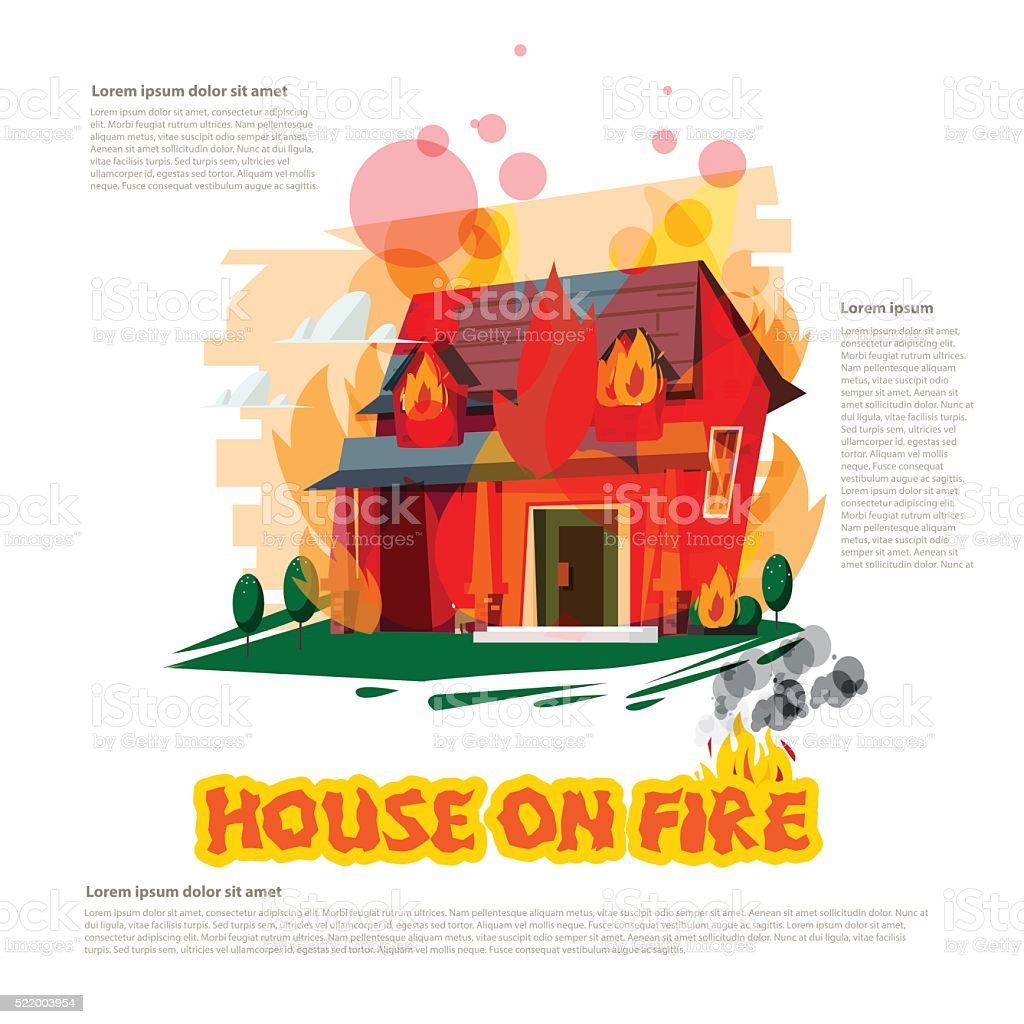 house on fire with typographic design - vector vector art illustration