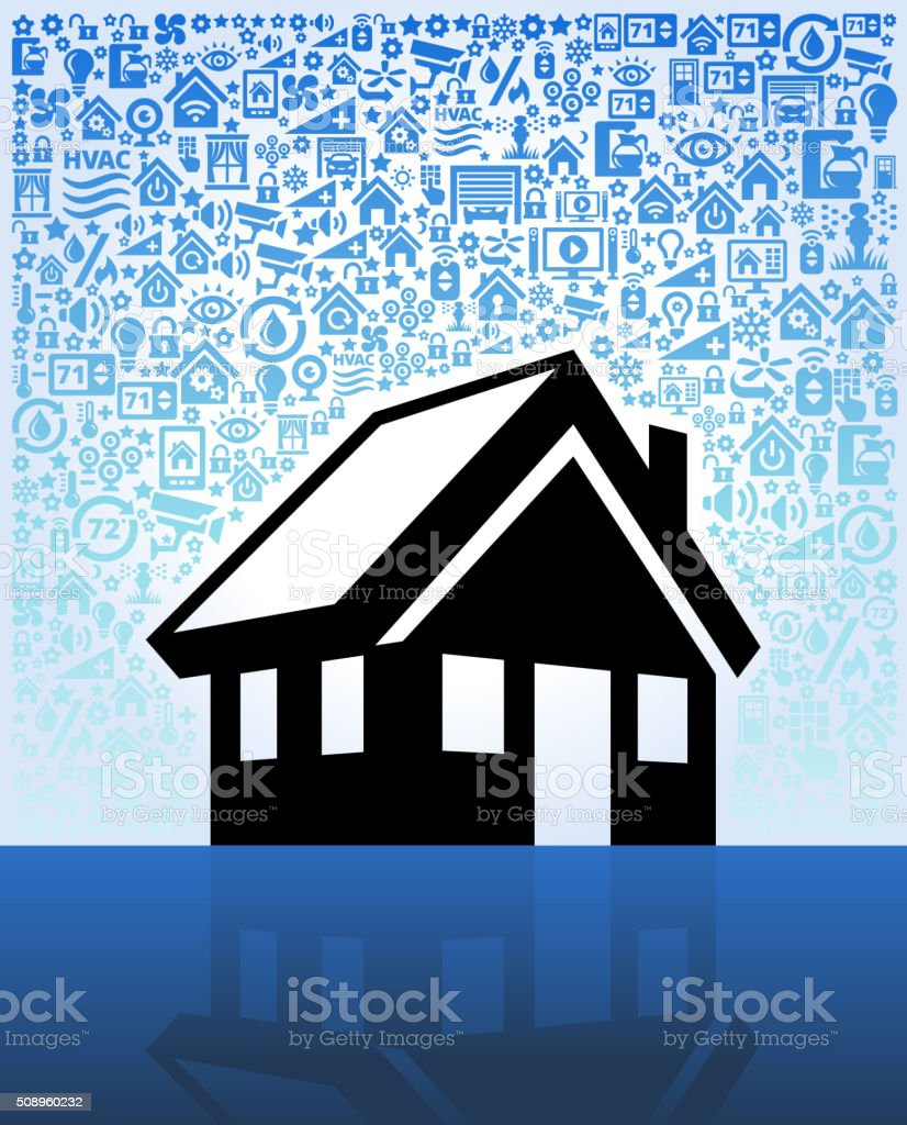 House on Home Automation and Security Vector Background vector art illustration