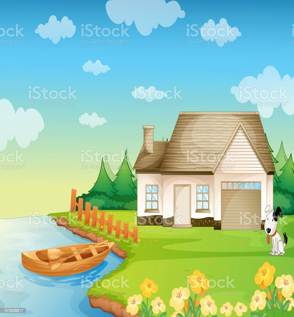 House on the bank royalty-free stock vector art