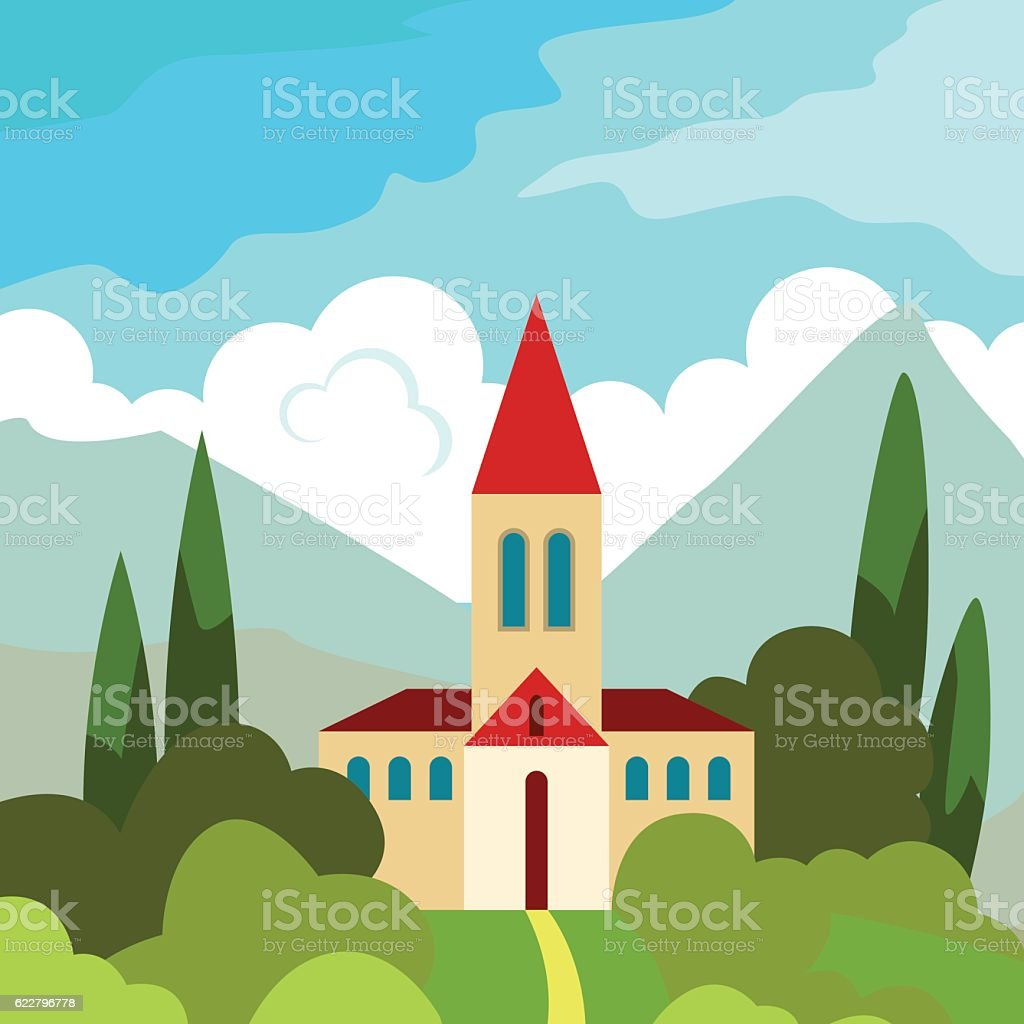 House on the hill in the hot sun vector art illustration