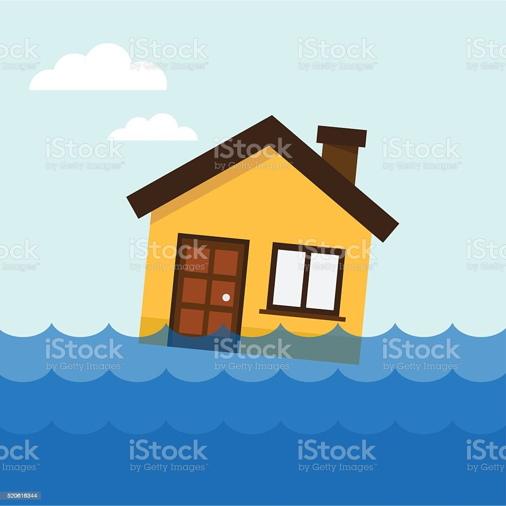 House on the water vector art illustration