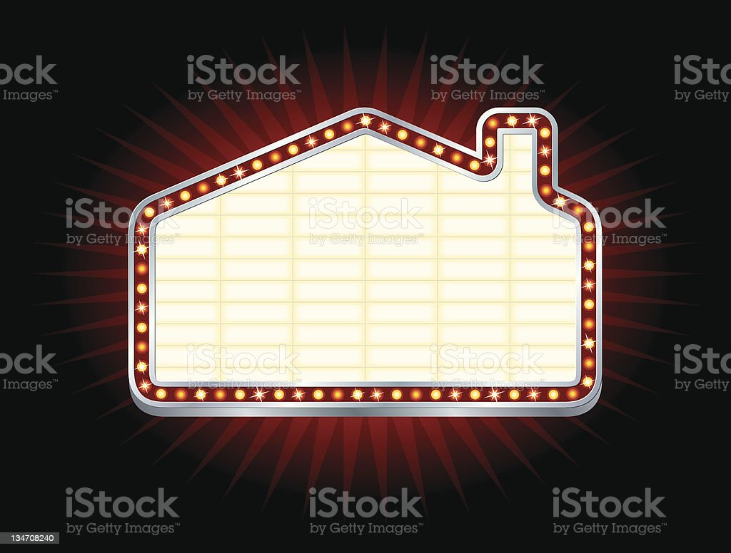 House or Home Shaped Theater Marquee stock photo