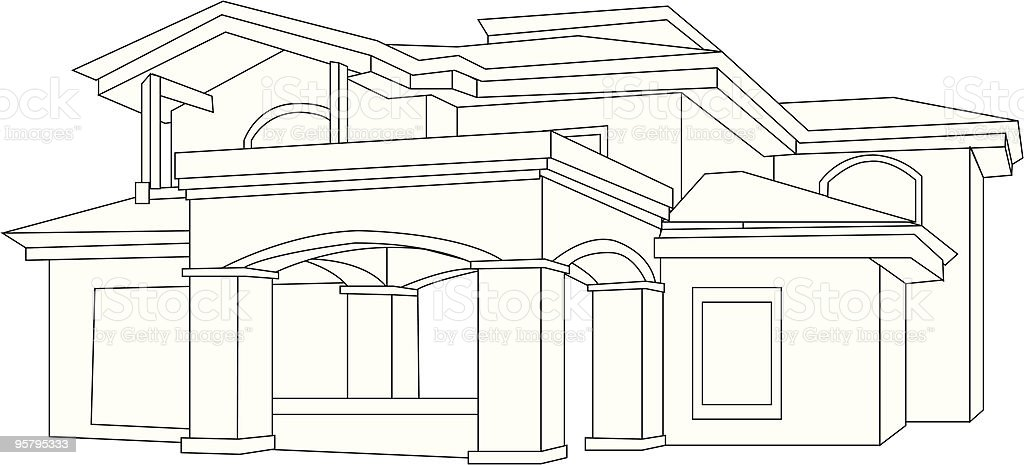 House Outline royalty-free stock vector art