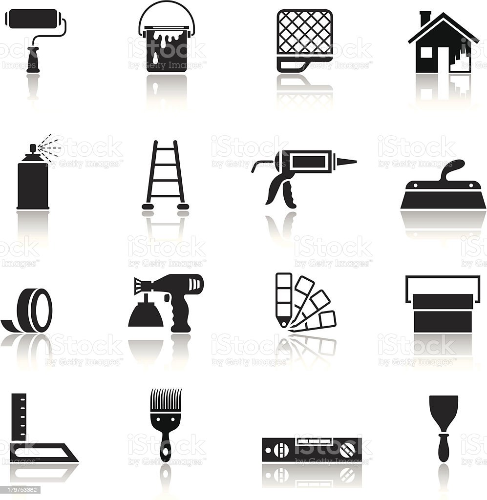 House Painting Icon Set vector art illustration