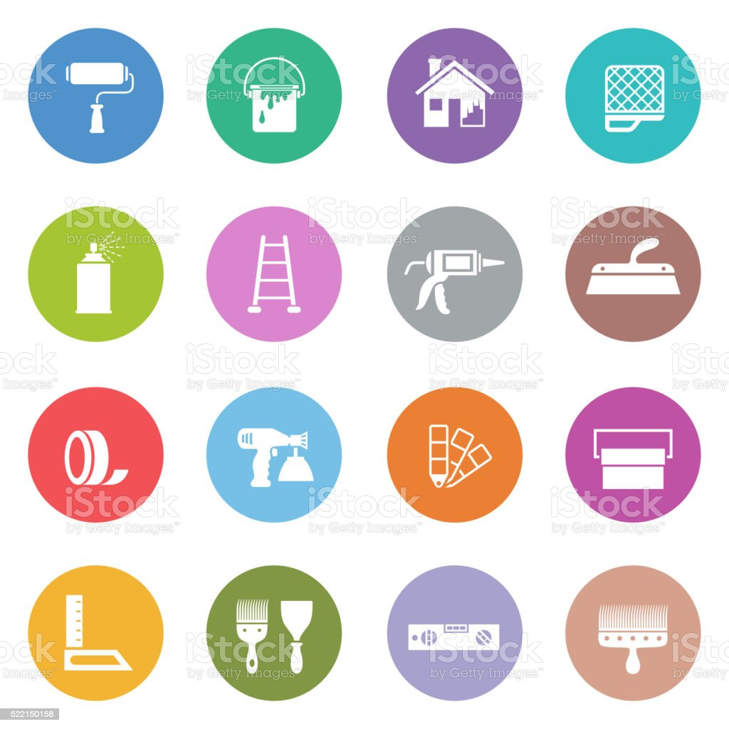 House Painting Icon Set vector art illustration