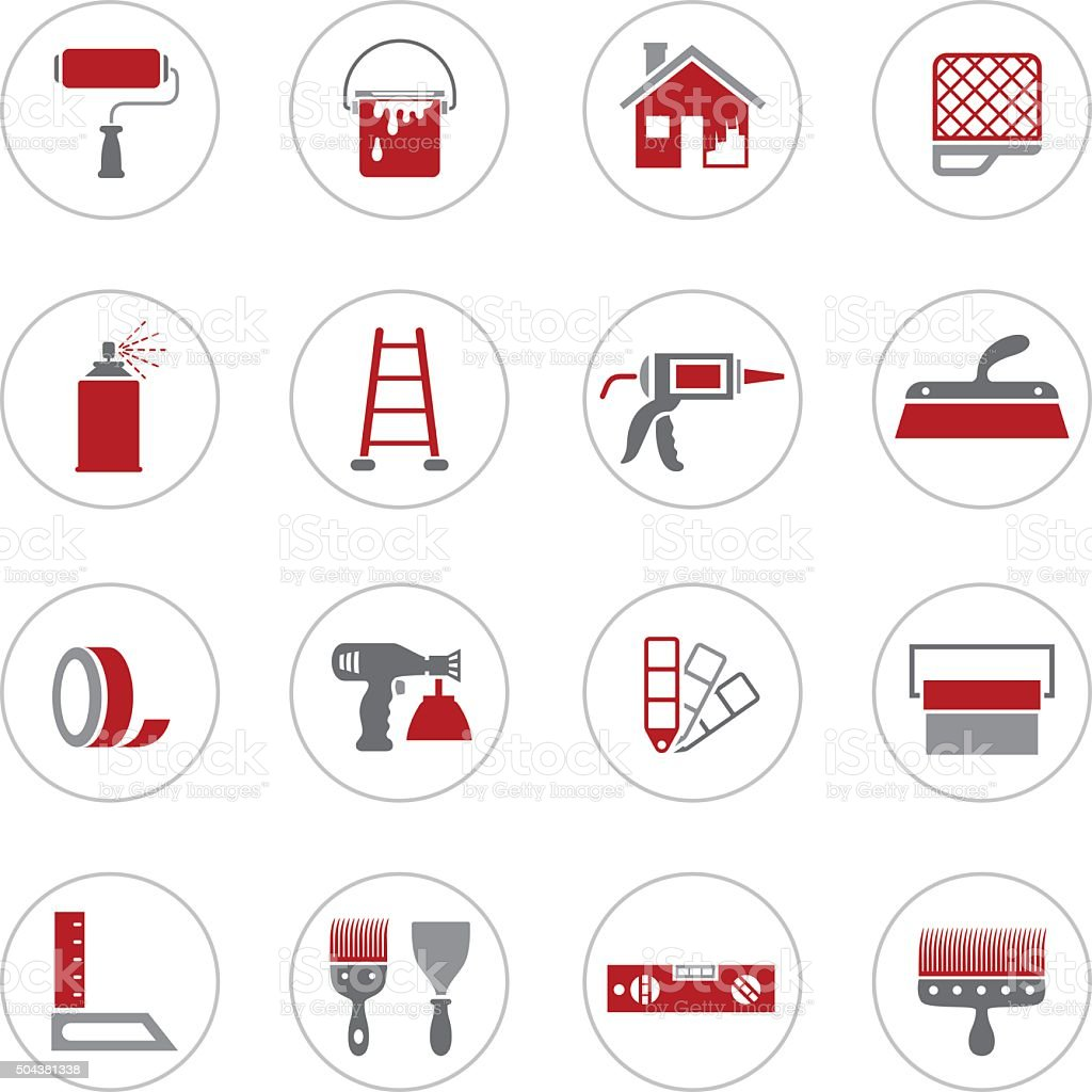 House Painting Icons vector art illustration