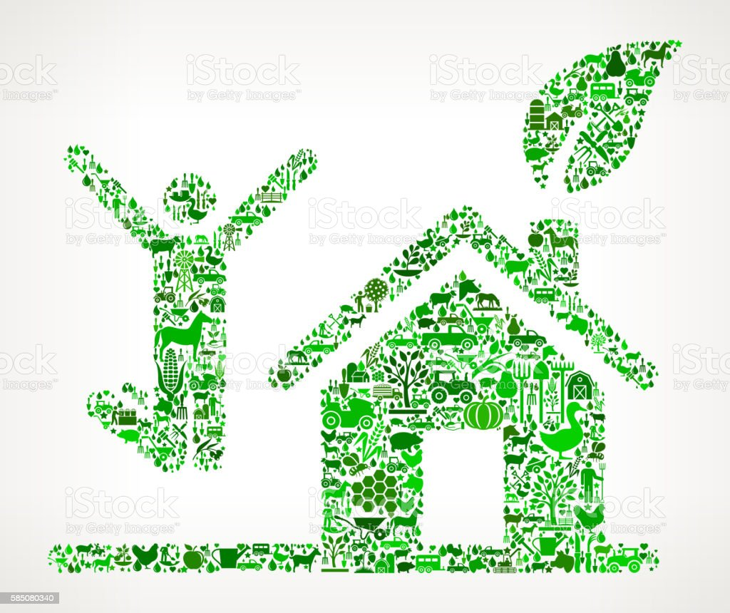 House Person Jumping Farming and Agriculture Green Icon Pattern vector art illustration