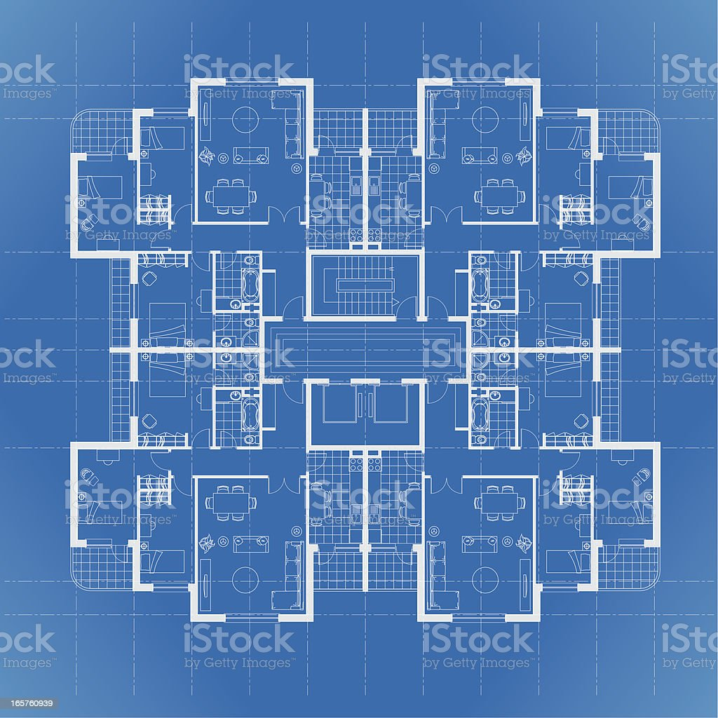 House plan architectural drawing in blue royalty-free stock vector art