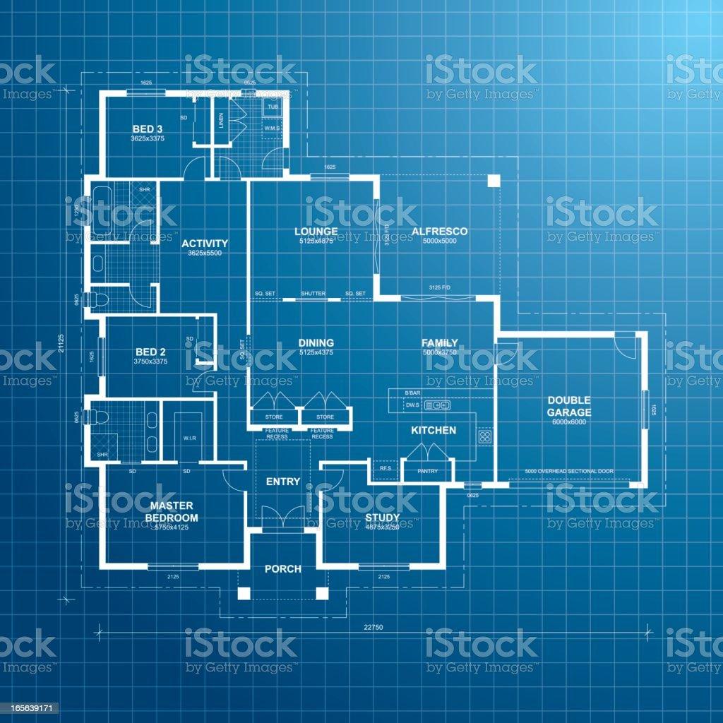 House Plan Blueprint vector art illustration