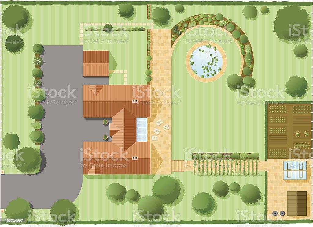 House plan two vector art illustration