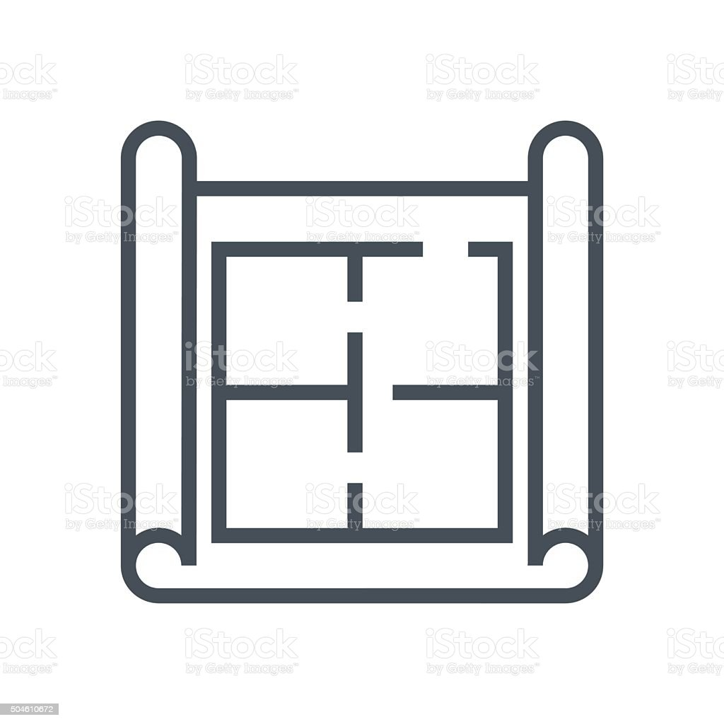 House plan, wireframe icon vector art illustration