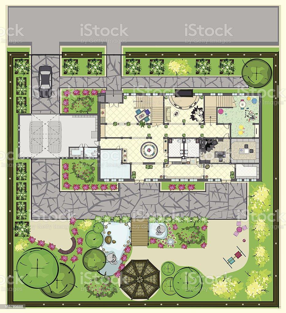 165789886 istock - Maison jardin house plan villeurbanne ...