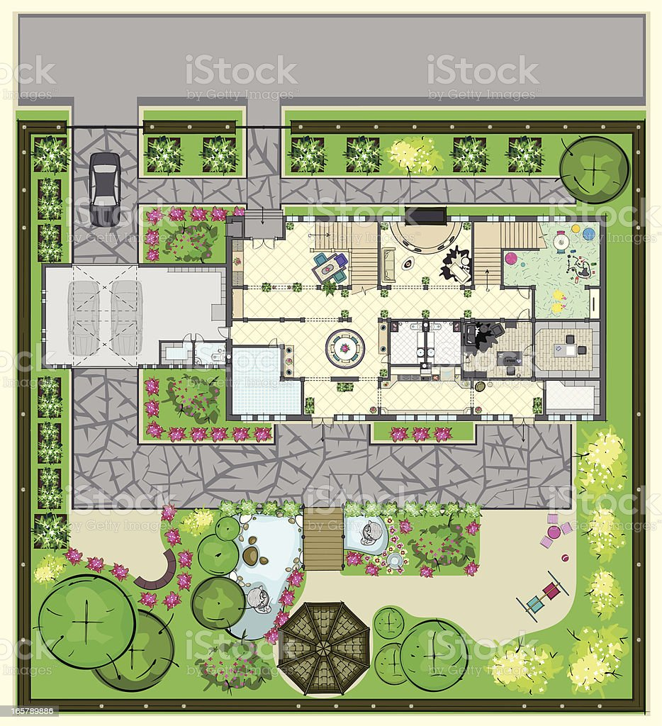House plan with furnishings and beautiful garden vector art illustration