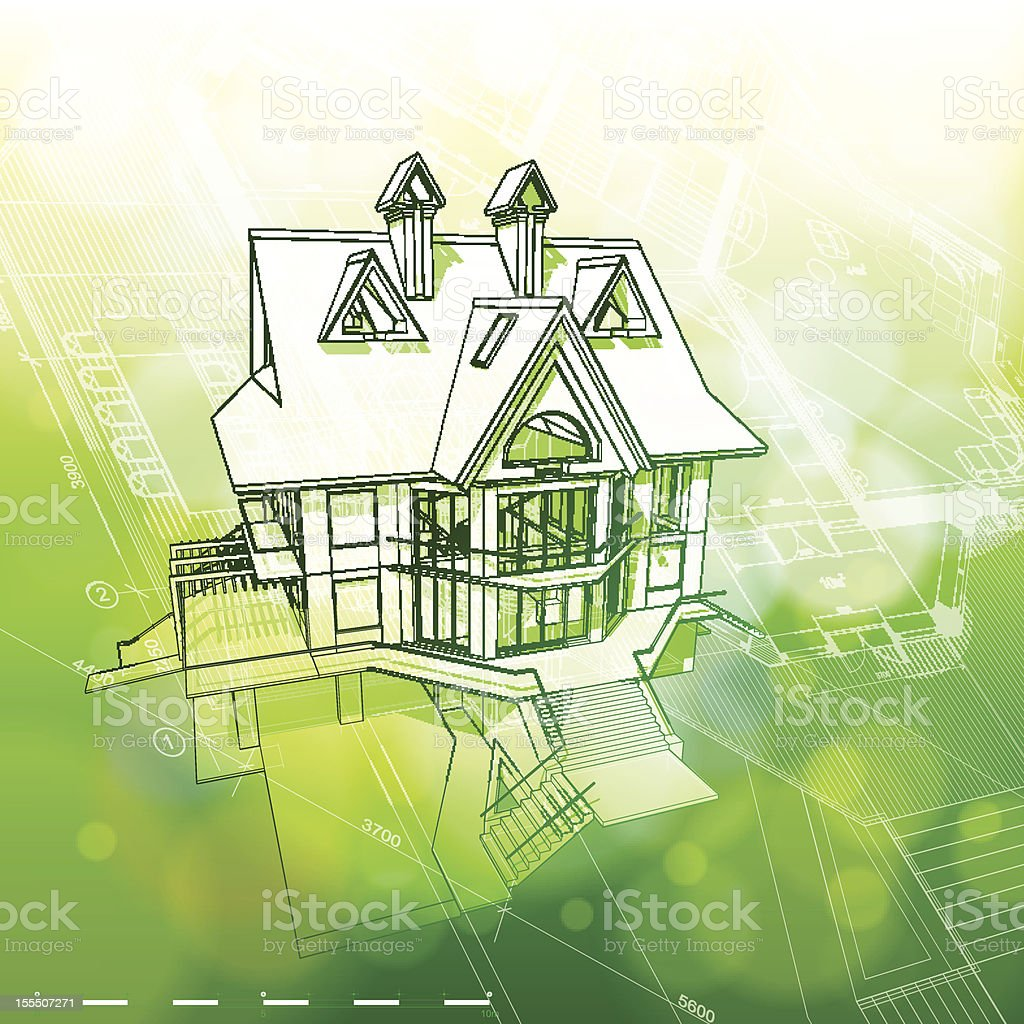 house, plans & green bokeh background royalty-free stock vector art