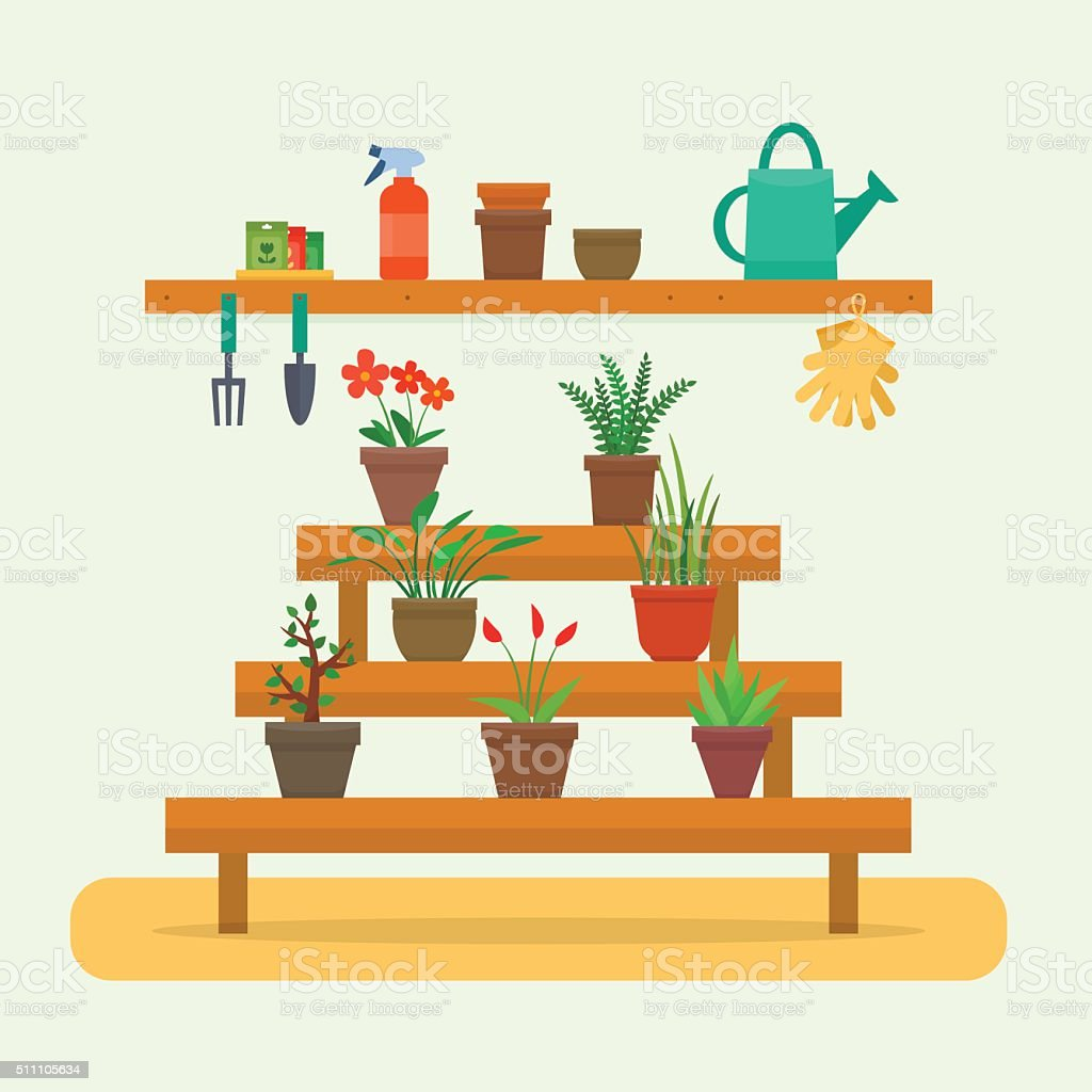 House plants and flowers in pots. vector art illustration