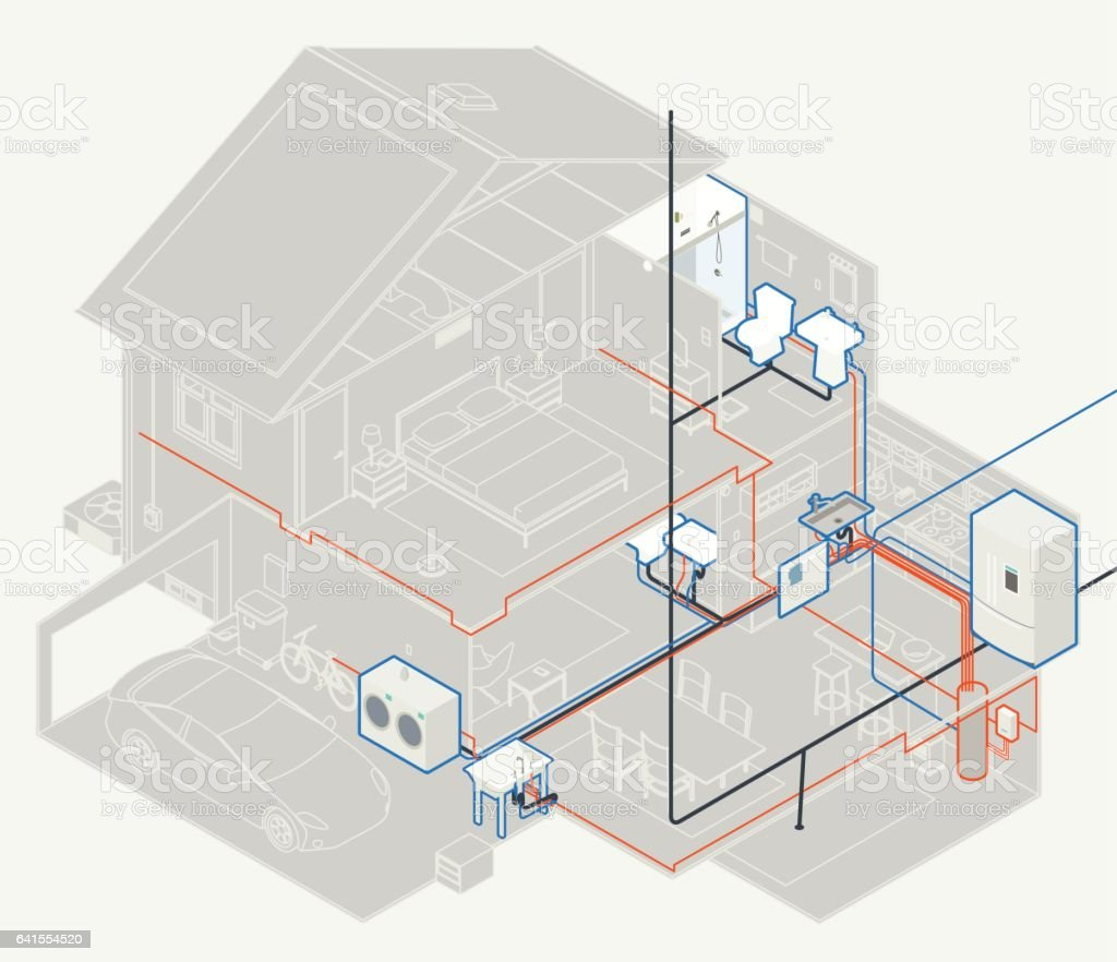 House plumbing diagram stock vector art 641554520 istock for Household plumbing diagram