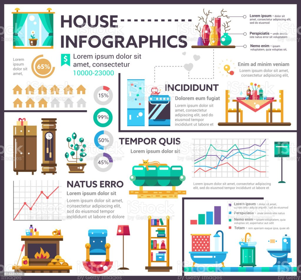 House - poster, brochure cover template vector art illustration