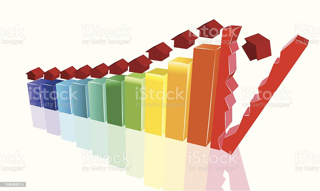 House price collapse royalty-free stock vector art