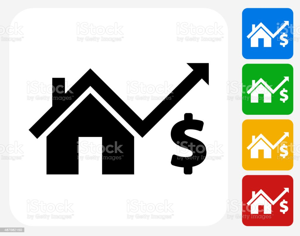 House Pricing Icon Flat Graphic Design vector art illustration