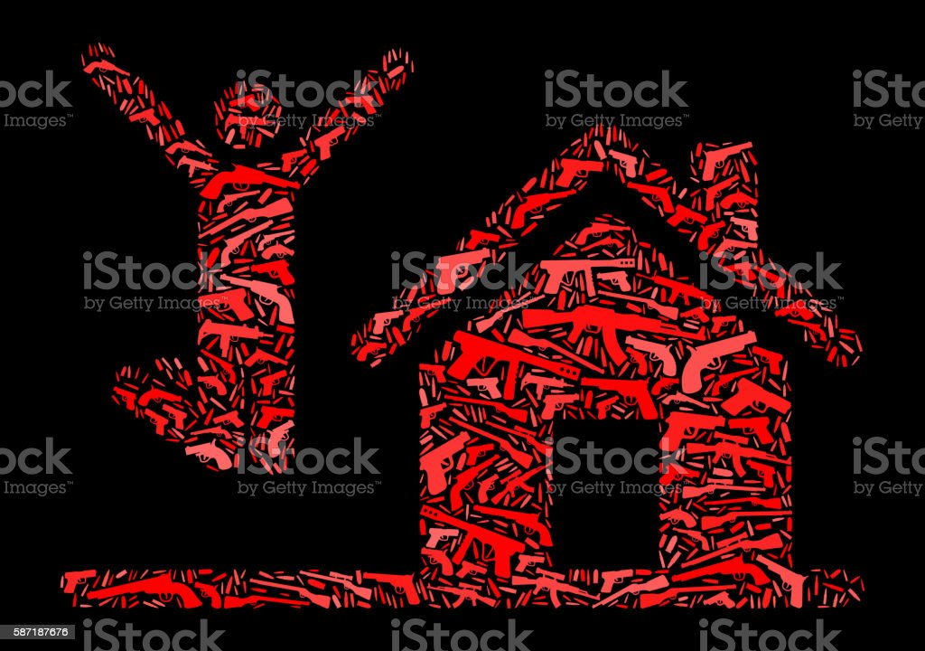 House Purchase Gun Icon Pattern Background vector art illustration