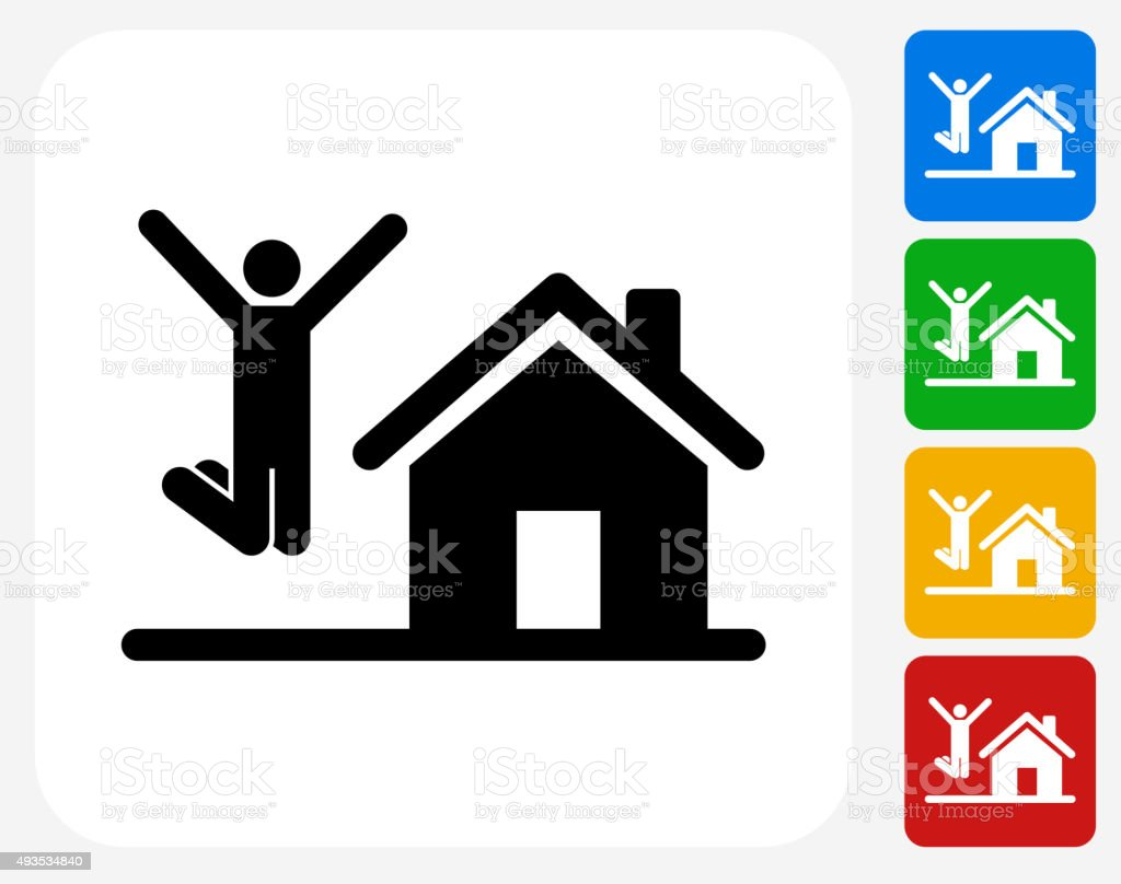 House Purchase Icon Flat Graphic Design vector art illustration