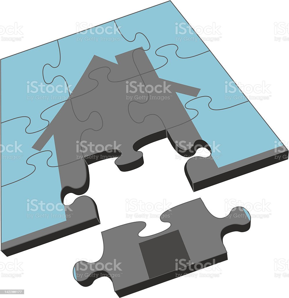 House Puzzle vector art illustration