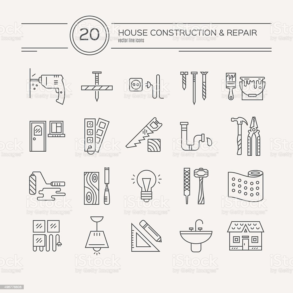 House Remodel Icons vector art illustration