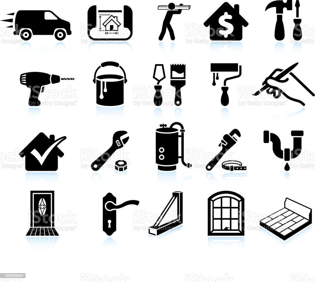 house repair home improvement black and white icon set vector art illustration