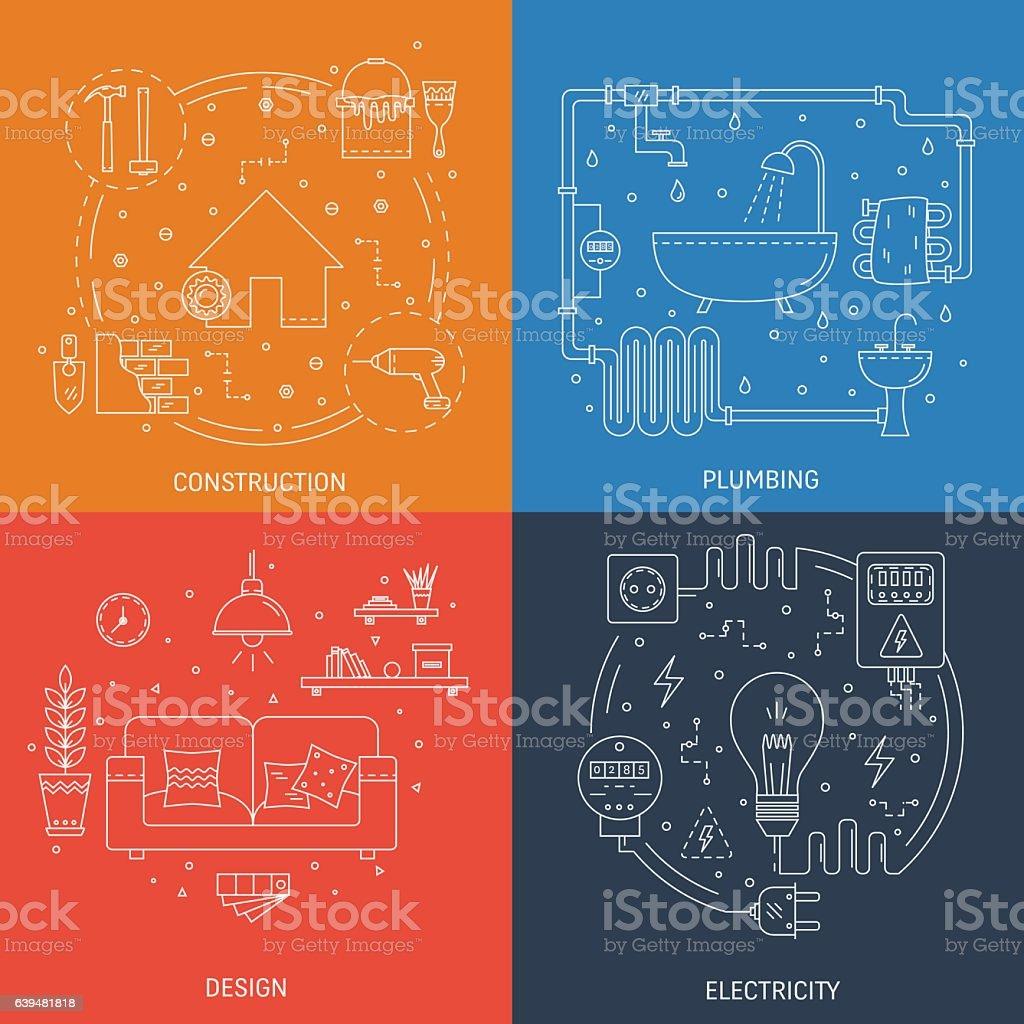 House repair illustrations vector art illustration