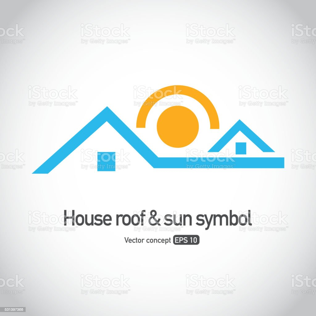 House roof with sun symbol vector art illustration