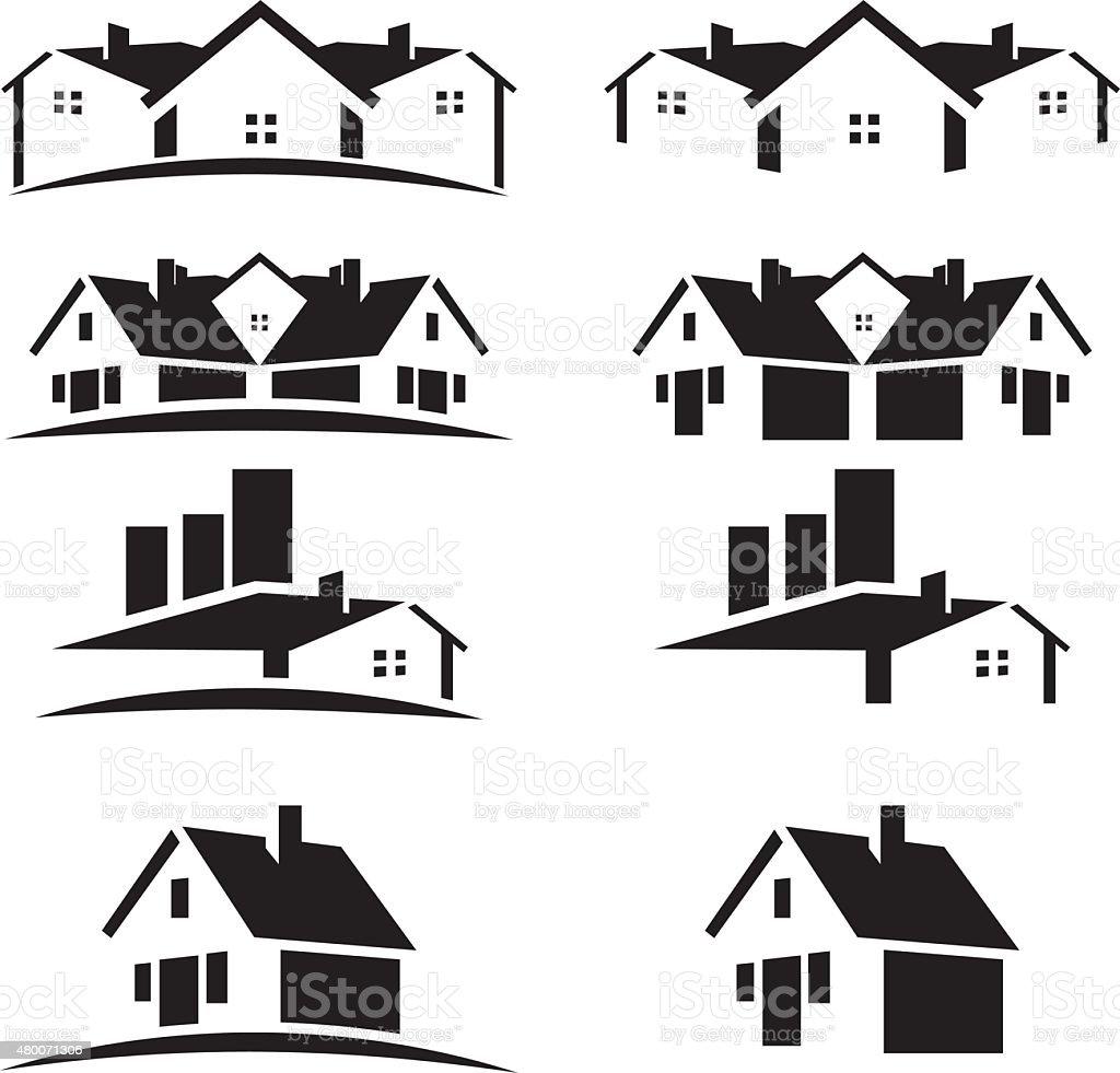 House roofs set for real estate business vector art illustration