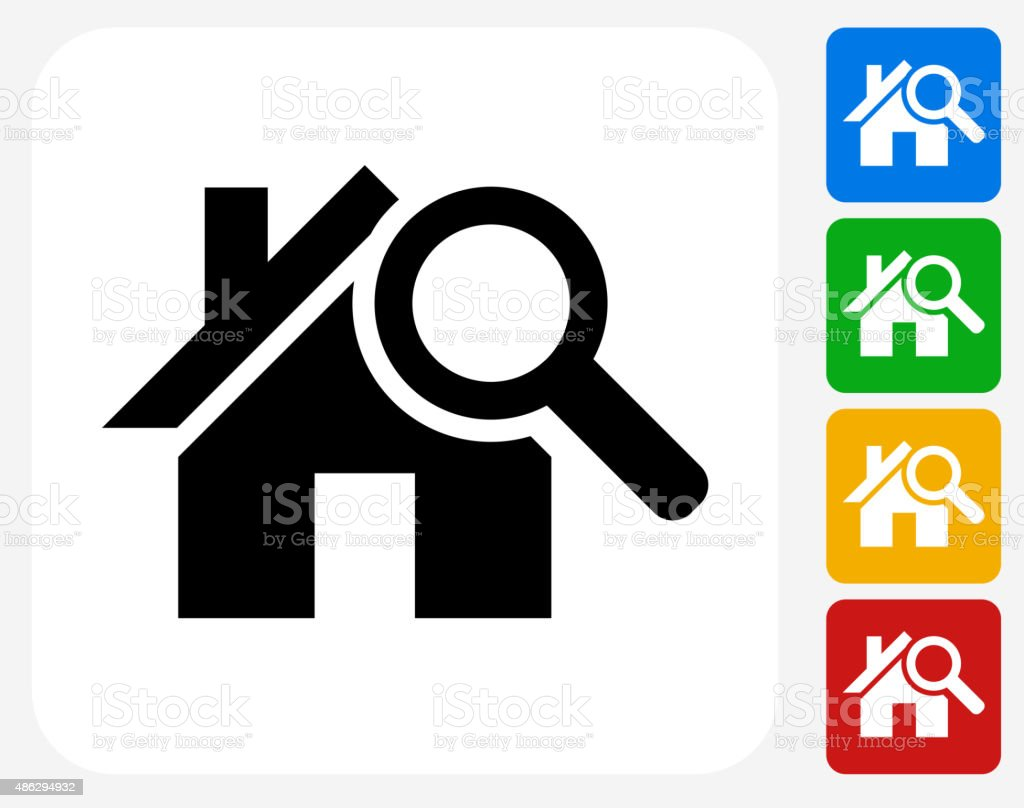 House Searching Icon Flat Graphic Design vector art illustration