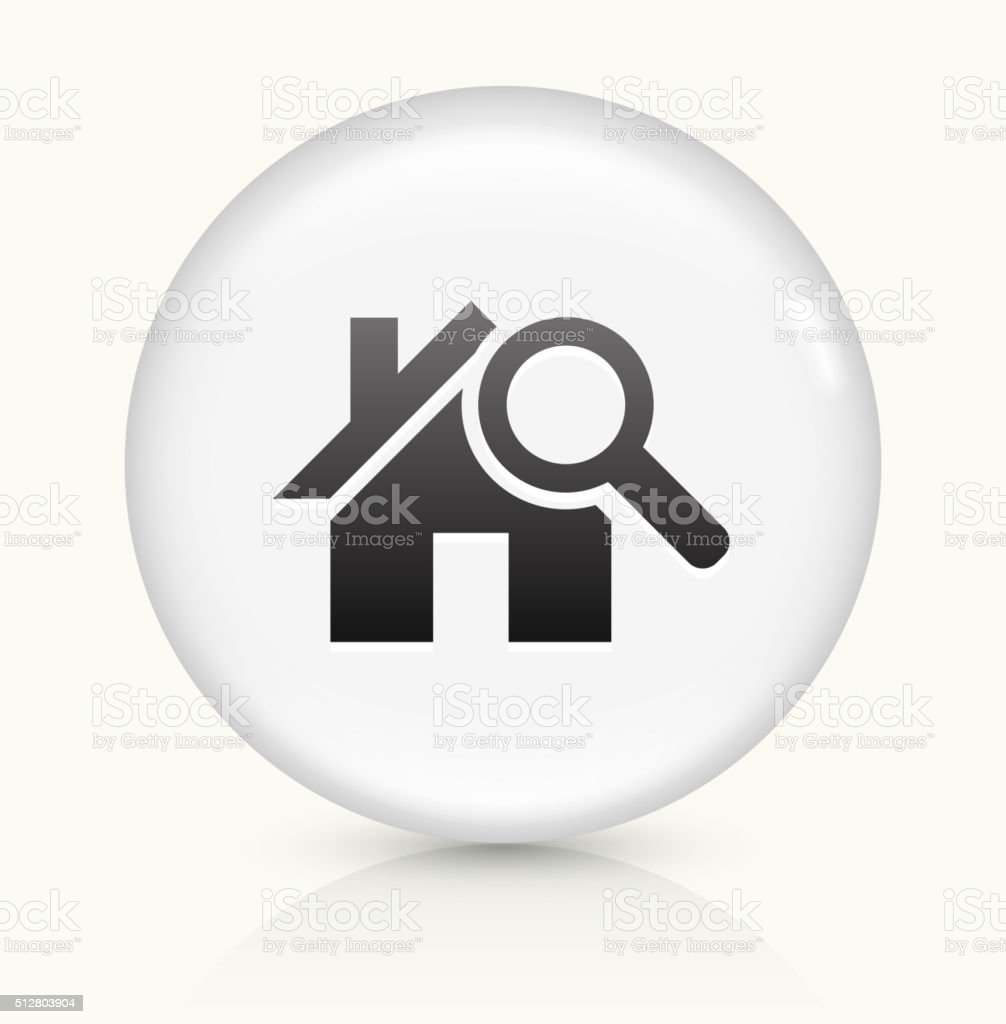House Searching icon on white round vector button vector art illustration