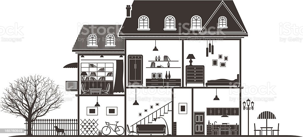 house sections vector art illustration