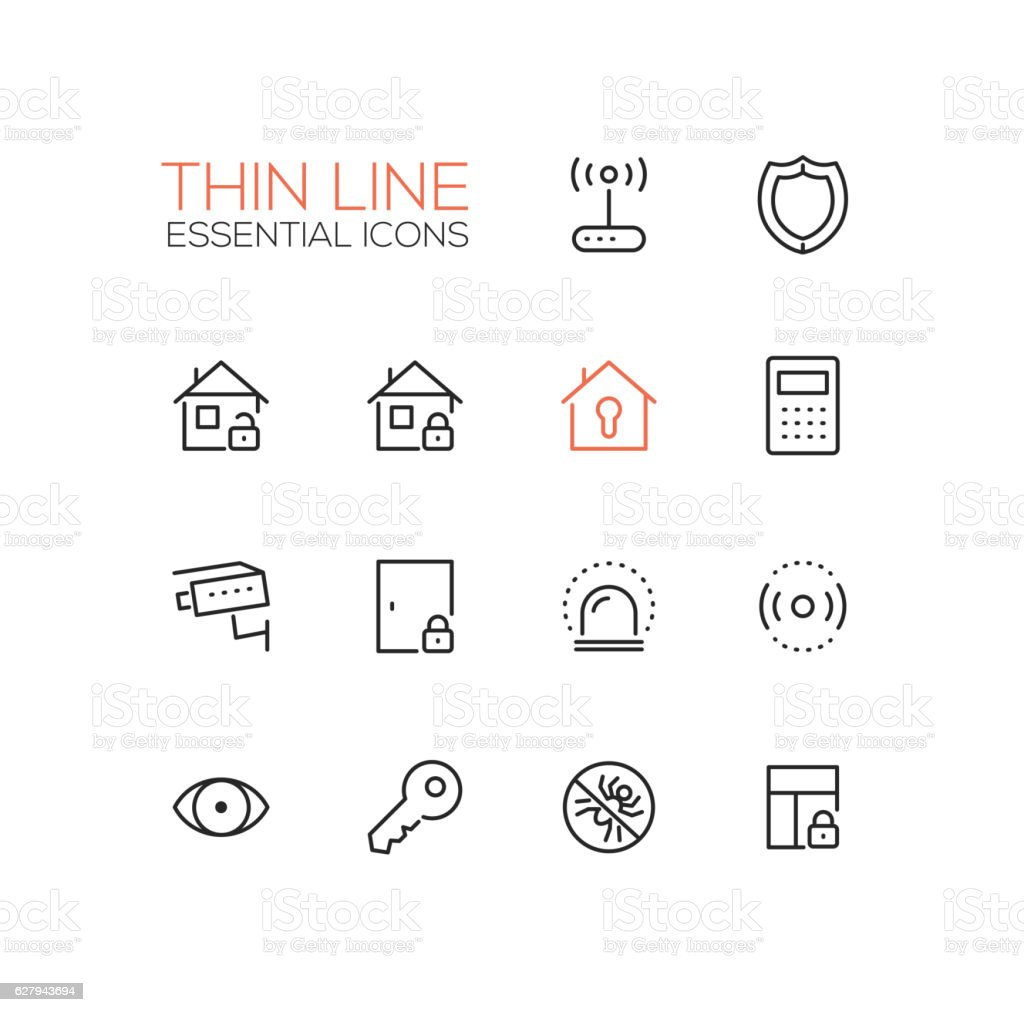 House Security - Thin Single Line Icons Set vector art illustration