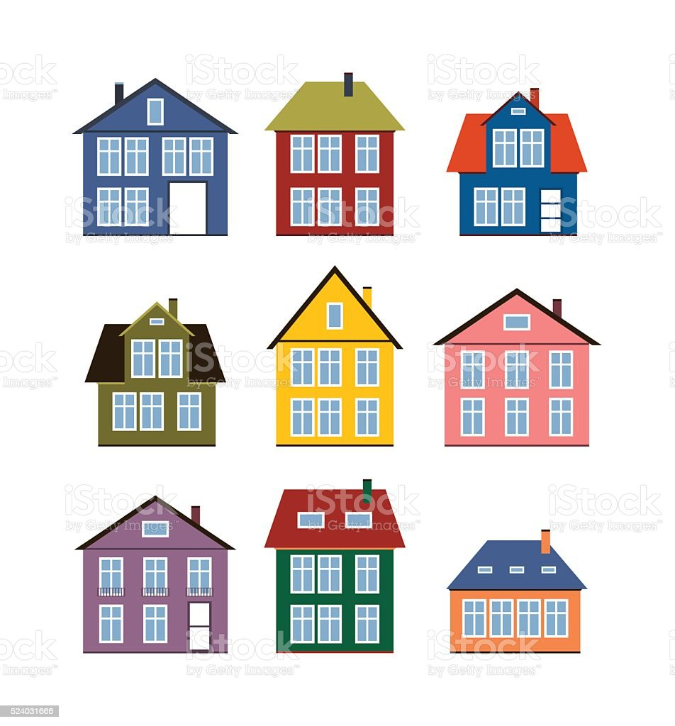 Cool House Set Flat Icons Different Houses Vector Illustration Stock Largest Home Design Picture Inspirations Pitcheantrous