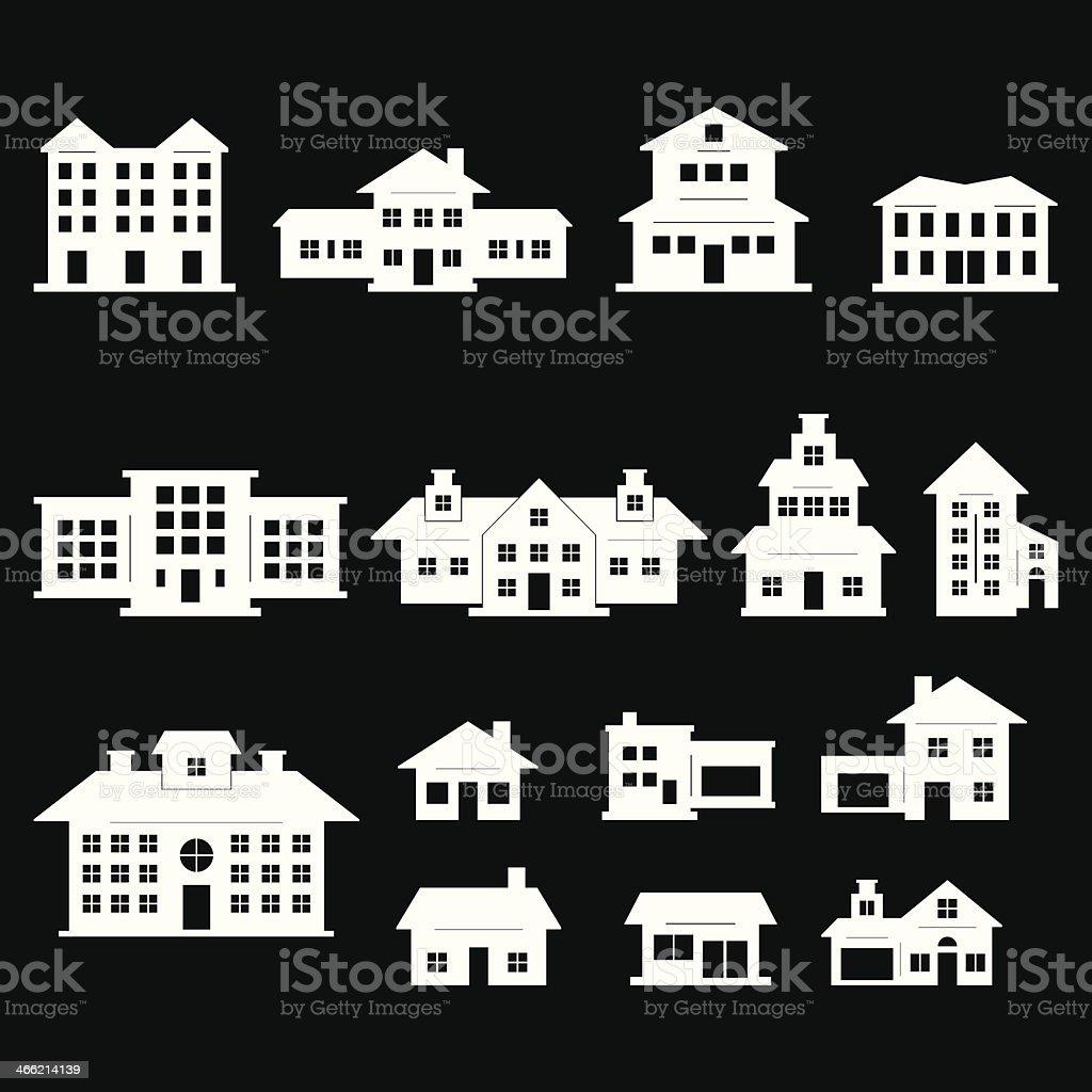 House set - White series vector art illustration