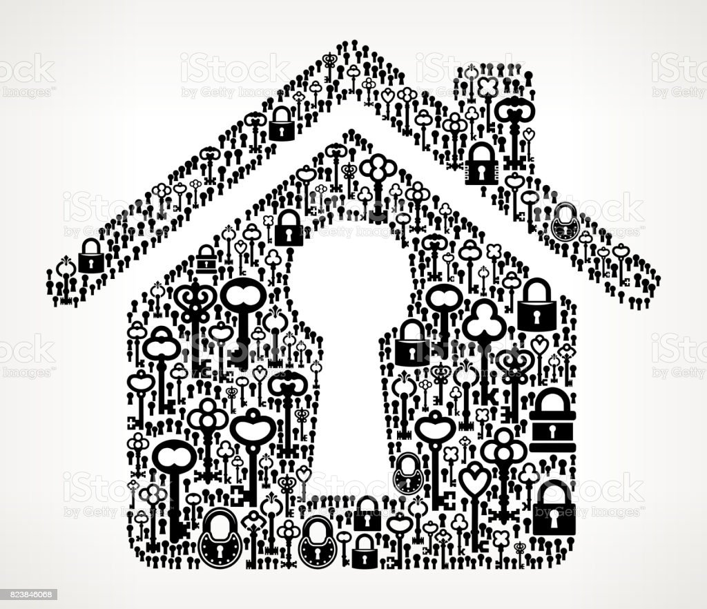 House Shaped Keyhole Antique Keys Black and White Vector Pattern vector art illustration
